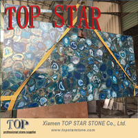 Luxury Precious Stone Blue Color Gemstone Slab for hotel decoration