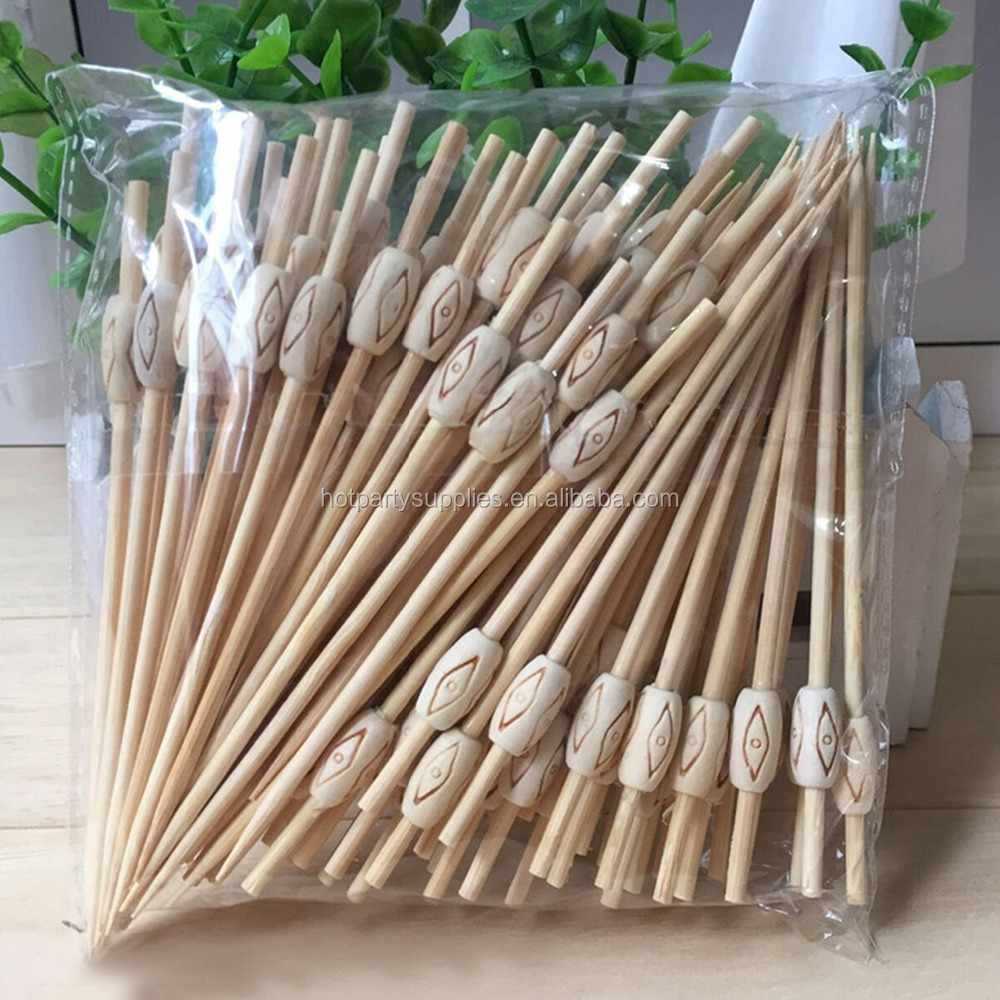 Party Decorations Bamboo Skewer for BBQ/ Eco-friendly Disposable Bamboo Cocktail Fruit Picks/Sticks