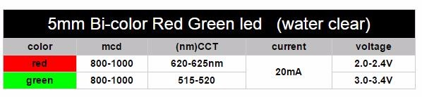 Factory price 5mm Dual Led Diode Bicolour light emitting diode Red/Green 3-lead 5mm LED