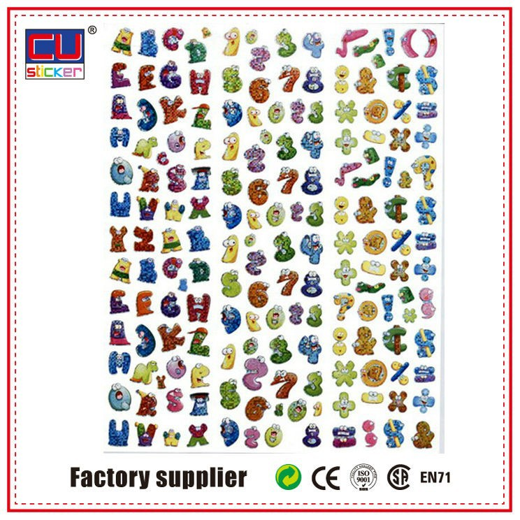 self adhesive colorful number and letter stickers