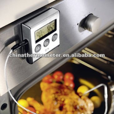 Digital meat thermometer with countdown timer
