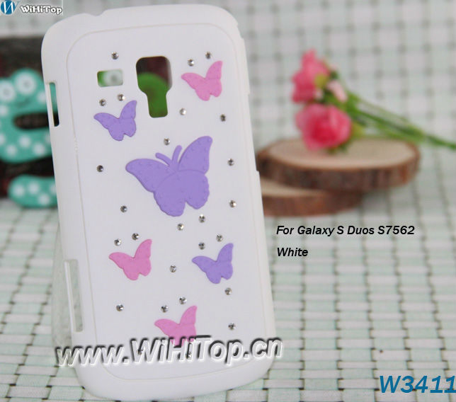 For Samsung Galaxy S Duos S7652 Case Galaxy S Duos Cover Butterfly PC Hard Skin