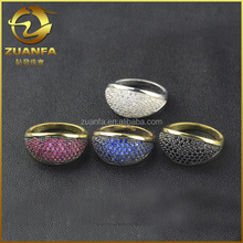 top quality hot sell colored stone micro pave sterling silver zircon stone ring