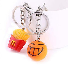 Simulation of Food Carton Face French Fries Toys Mini PVC Hamburger Keychain