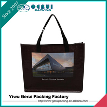 Recycled reusable plastic pp woven shopping bag with stitching handle