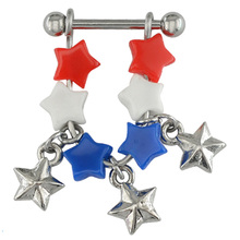 Colorful star surgical steel sexy nipple piercing