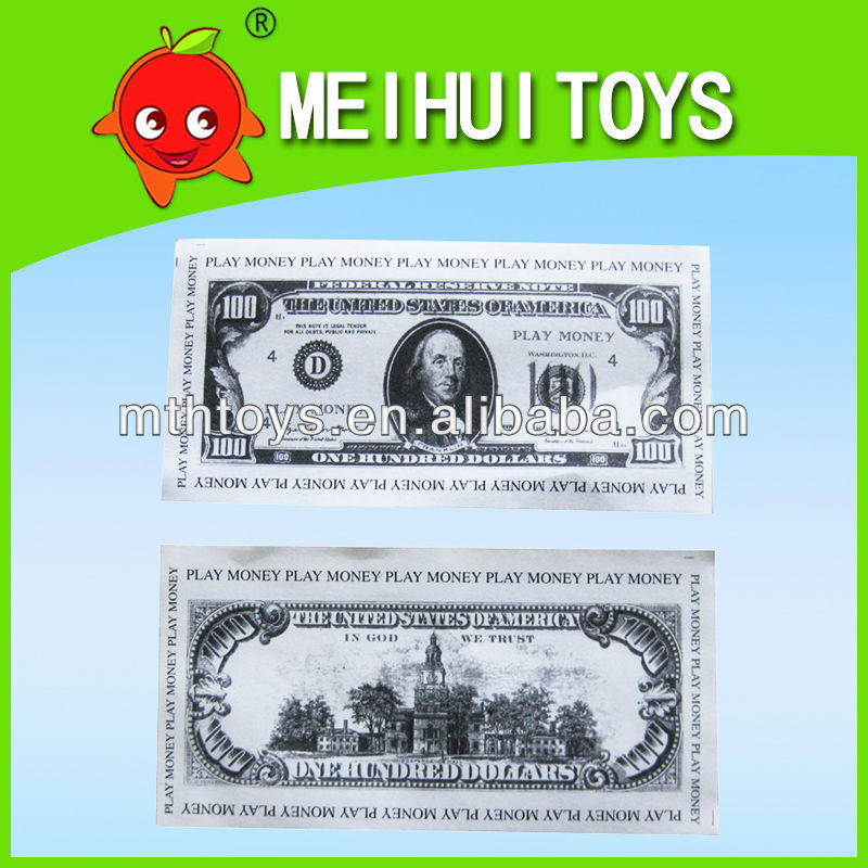 Educational toys classic play money toys dollar paper toys