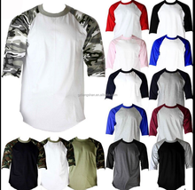 OEM men's women's baseball tee shirts wholesale 3/4 Sleeve Raglan baseball tee