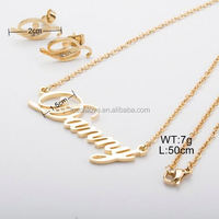 Customized Snake Shaped Letter Pendant Necklace 18K Gold Plating Fashion Snake Earring Set Wholesale African Gold Jewelry