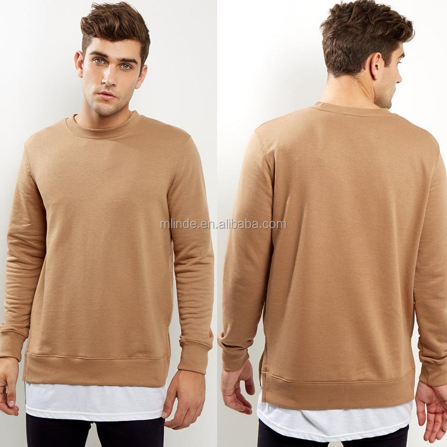 Korean Men Sweater Long Sleeves Crew Neck Tee Tan Split Hem Layered Sweater Latest Sweater Designs For Men