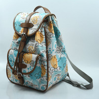 2015 trend flower pattern PU edge stitching lady backpack bag