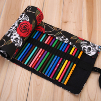 Stationery Supplies 72 Holes Personalized Skull Rose High-capacity Canvas Bag Pencil Case