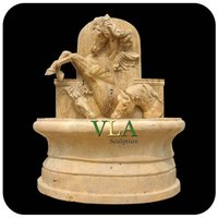 Yellow Marble Wall Fountain with Horse VWF-141