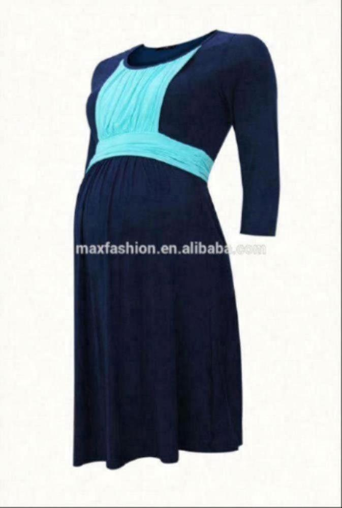 3/4 sleeve nursing dress with front ruched