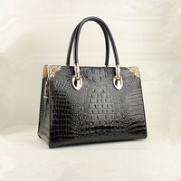 China manufacturers fashionable black high quality luxury branded handbag Guangzhou supplier