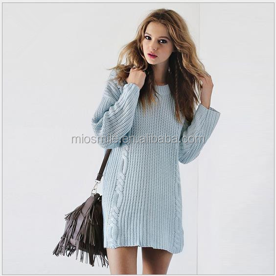 S31139A Young lady fashion dresses cable knitted backless sexy elegant sweater