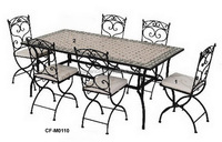 outdoor mosaic top pattern dinning table and chair furniture sets