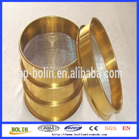 SS woven wire mesh test sieve/brass sieve screen/brass round test sieve