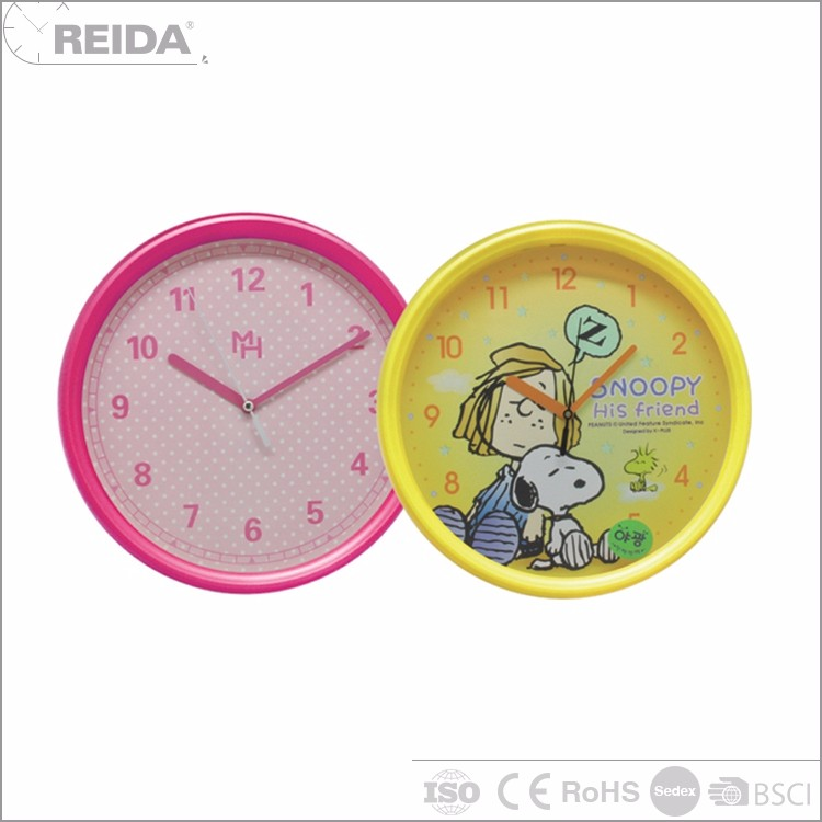 China round wall plastic analog quartz kid clock picture