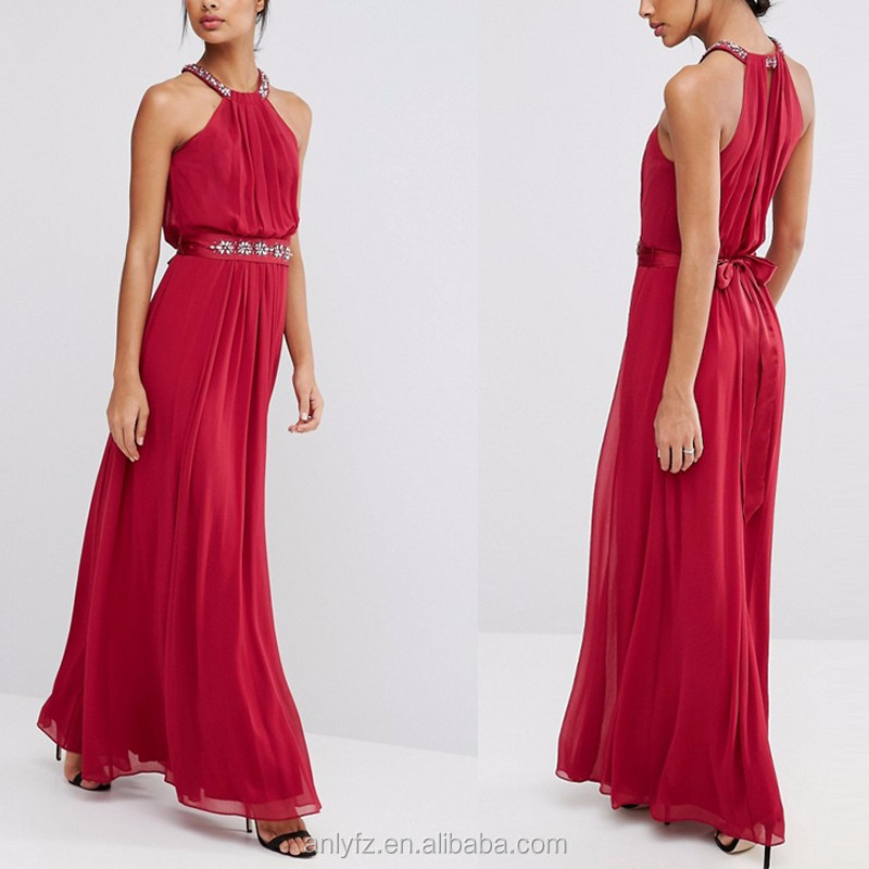 halter neck sleeveless tight waist strapless red long maxi evening dress for women apparel