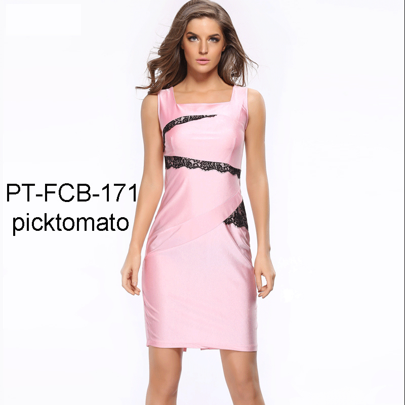 fashion lace decoration pink pencil skirt