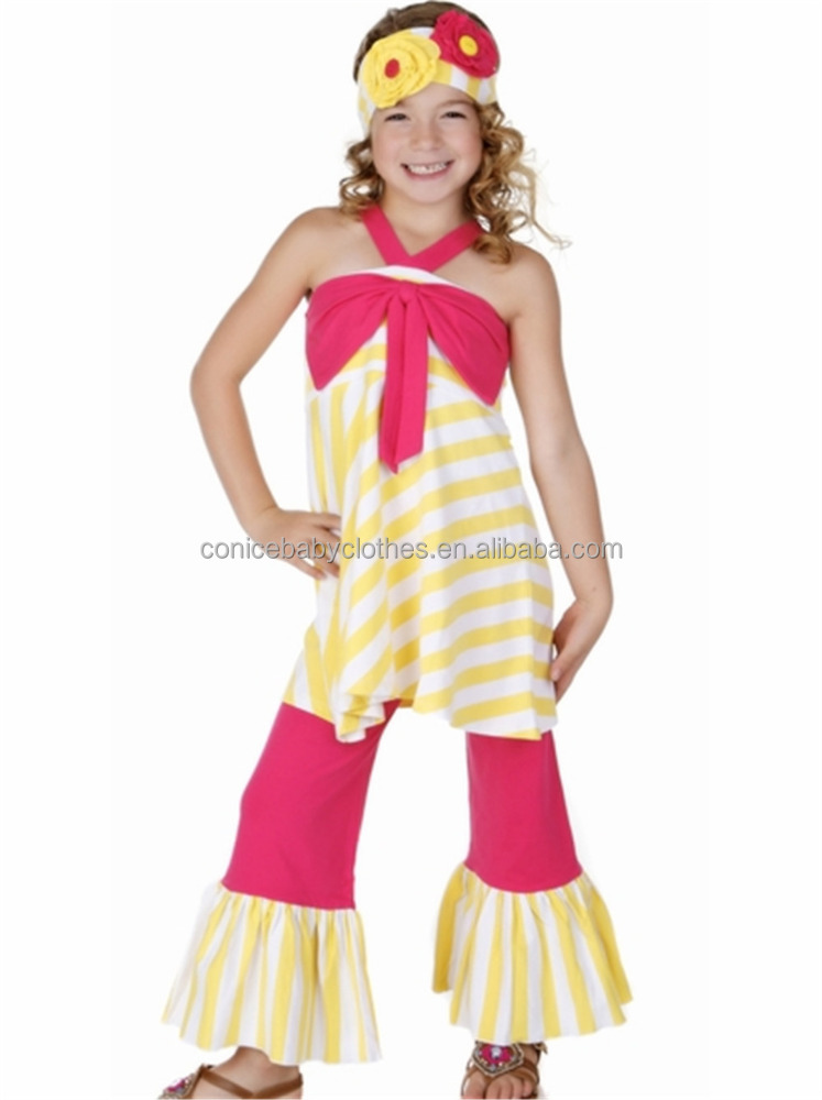 wholesale model design children dancing halter stripe cotton ruffle boutique clothes
