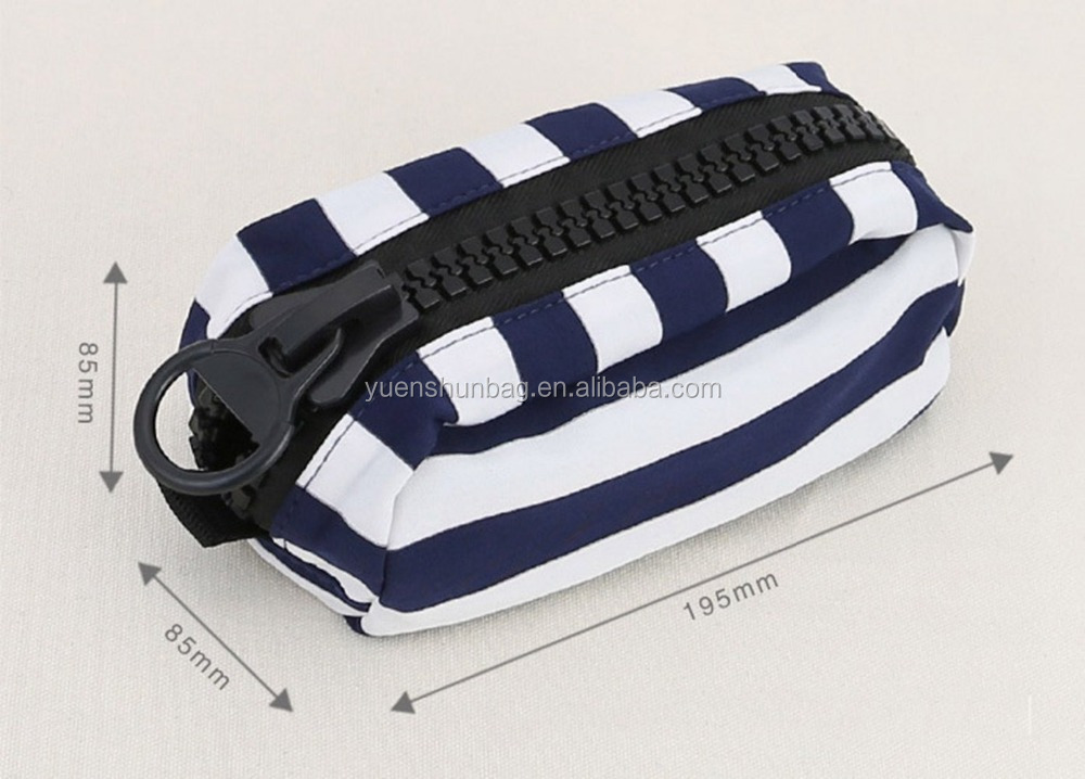 Canvas Portable Large Capacity Stripe Pen Pencil Case Stationery Pouch Cosmetic Bags Makeup Bag Pouch Pocket