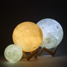 3D Printing Christmas Gift 2 Color LA LUNA Moon Light LED 3D Printing Moon Lamp with USB Charging
