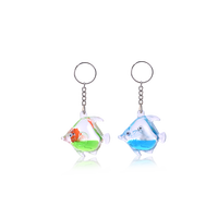 Acrylic Custom Liquid Fish 3D Keyrings Floating Key Chain