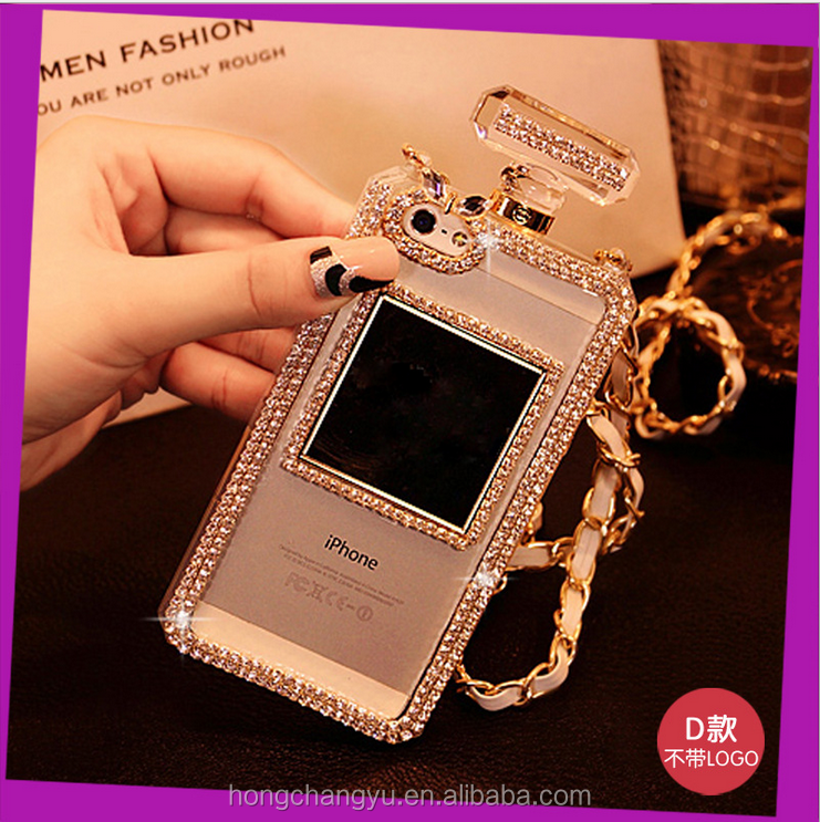 perfume bottle design diamond phone case, crystal bling phone case for iphone 5 5s se