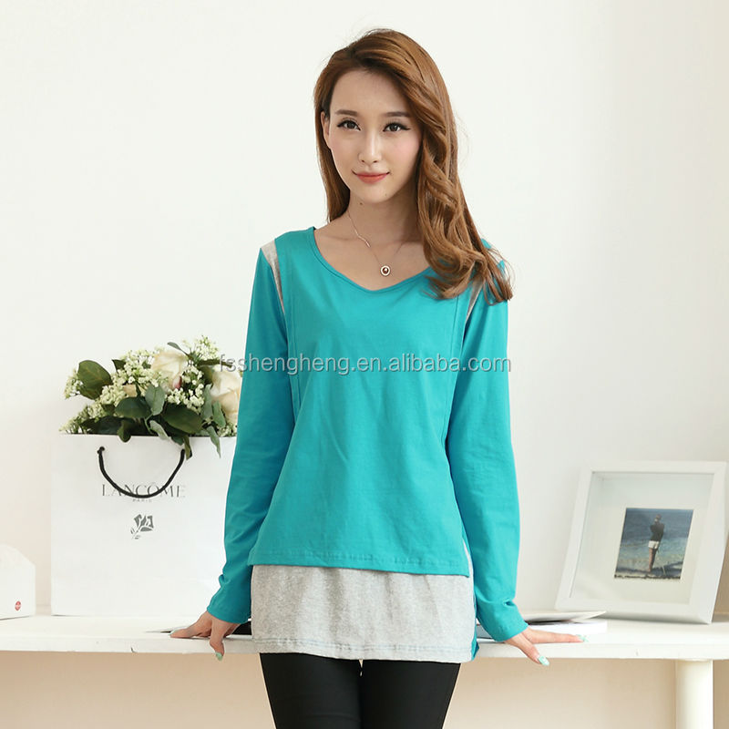 Green fresh long sleeve cotton breastfeeding wear for new mommies pregnant women casual top nursing baby AK114