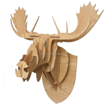 Beautiful Wall-mounted Wood Animal Head Avatar for home decoration