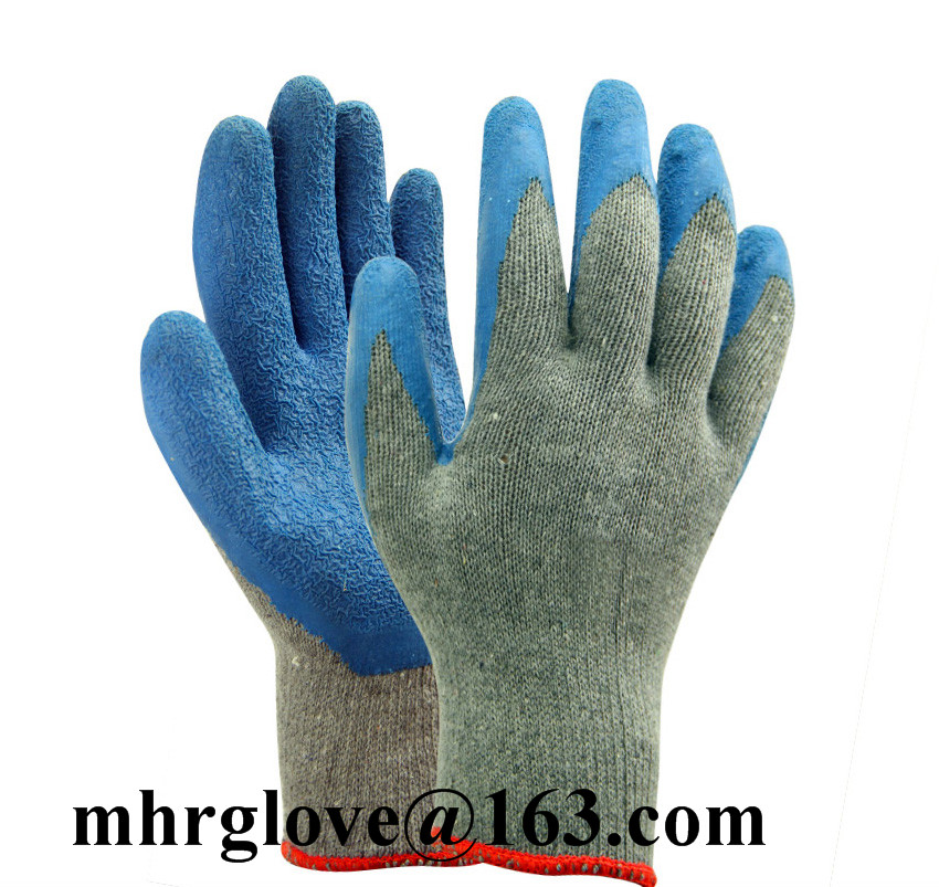 Brand MHR Latex gloves 10 gauges cotton polyester latex coated palm