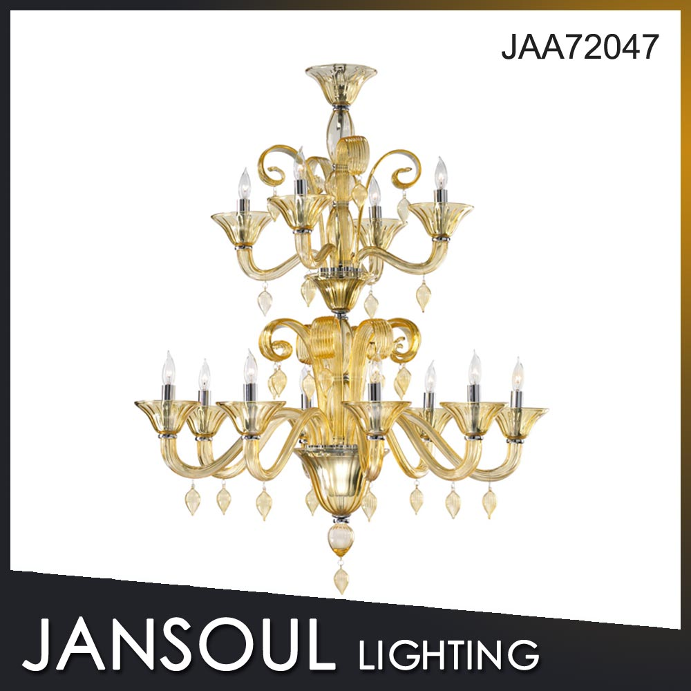 JANSOUL gold color contemporary glass modern crystal chandelier light