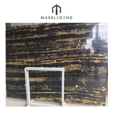 Shining polishing surface black gold marble for kitchen countertop decor