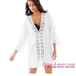 White V-Neck Chiffon Swim Cover Up Beach Dresses 2016 Summer for Woman