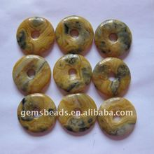 Wholesale natural crazy lace agate 25mm donut pendant gemstone