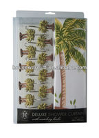 100% polyester fabirc shower curtain,coconut tree pattern