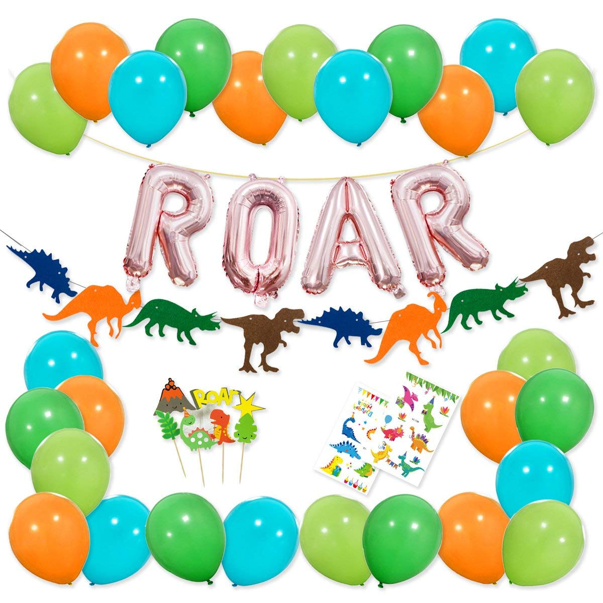 16 inch Rose Gold ROAR Banner Mylar Balloons Colorful Felt Garland Dinosaur Party Cake Topper and Latex Balloons with Tattoo
