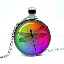 Rainbow Dragonfly necklace dragonfly jewelry dragon fly art photo pendant Glass Photo Cabochon Necklace