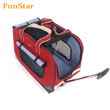 On Wheel Stroller Around Travel Pet Carrier Removeable Wheels Soft Sided Dog Carrier Bag Folding