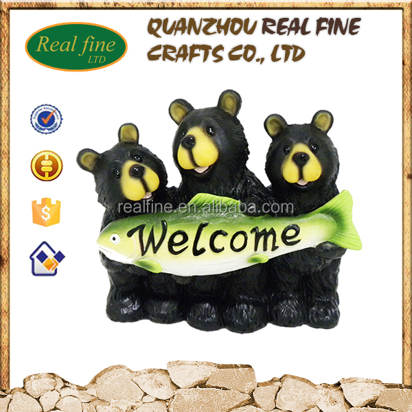2016 WELCOME polyresin black bear figurines