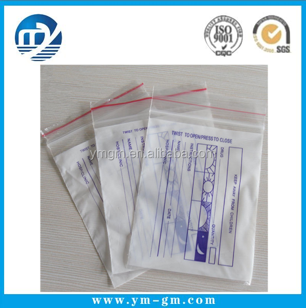 Apothecary Products Disposable Pill Pouches Plastic Printed LDPE Double Zipper Medicine bag