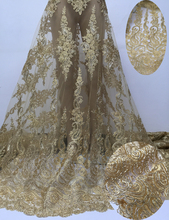 Beautifical hotselling romantic wedding gold lace African net lace Nigerian mesh lace fabric DNP31