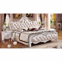 Cheap double bed French antique wood furniture Luxury Rococo European Wedding Hand Carved pine bed DAL-09