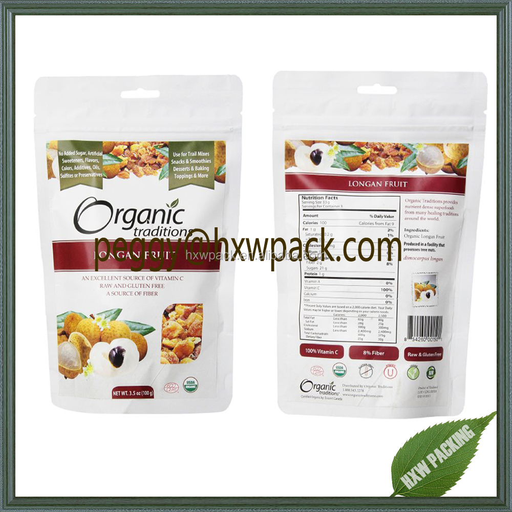 100g organic dried food packaging standing food pouch