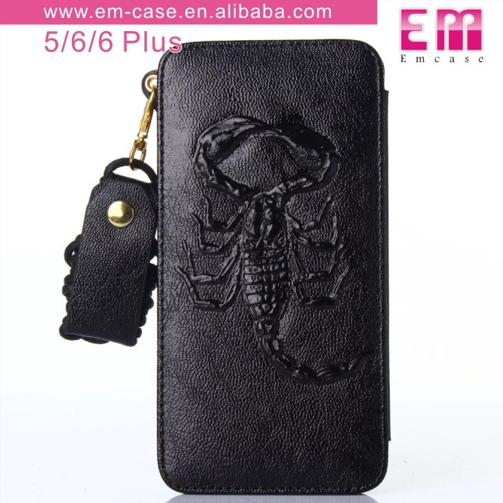 newest genuine fancy new design pu leather case,Scorpion back cover for iphone 6 case
