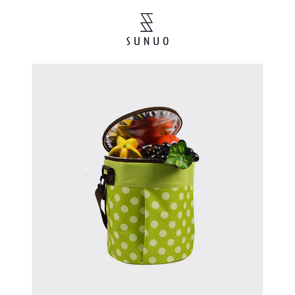 Green Round Portable Small Bag coolers For Picnic And Camping