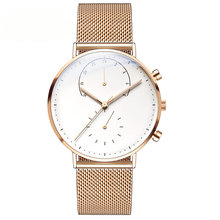 OEM/ODM interchangale rose gold mesh band vogue chronograph stainless steel back quartz quality watches men