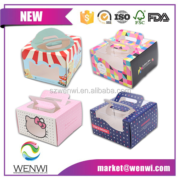custom printed cheap decorative personalized paper cake boxes